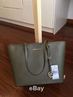 100% Michael Kors Jet Set Travel Top Zip Tote -Olive Boxed