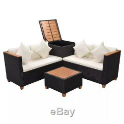 14 Piece Garden Sofa Set Poly Rattan WPC Top 4 Seater with Storage Box Armrest