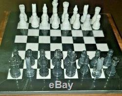 15 black & white marble luxury table top chess set plus board storage box