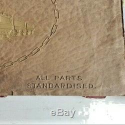 1922 Meccano Liverpool Hornby Clockwork Train Set Box Top & How To Build Parts