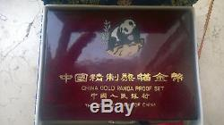 1990 China Gold-set Panda Pp/proof Box Zertifikat Top Rar Mintage 5000