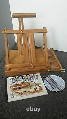 19pcs Artist Quality Ferrario Watercolor Paint Set with Table Top Easel Box