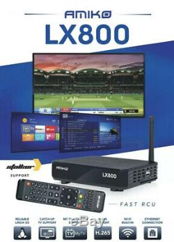 AMIKO LX-800 BUILT-IN WiFi IPTV SET-TOP BOX 12 Months PremiumPlug & Play