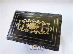 ANTIQUE 1890's PAPIER MACHE PERFUME/COLOGNE BOX SET w KEY STERLING TOPS