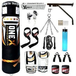 A 5ft heavy filled punch bag kick boxing martial arts training set mma fitness