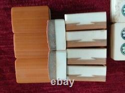 A vintage Mah jong set Bovine & Bamboo 148 tiles in deep slide top box c1920's