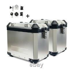 Aluminium Panniers Set + Top Box for Ducati Multistrada 1200 Enduro GX45 silver