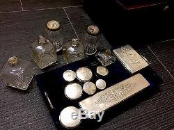 Antique Travelling Grooming Silver Top Set- Rose Wood Box Mother Pearl Inlay1840