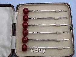 Boxed Set 6 X Red Bakelite Cherry Top + Solid Silver Cocktail Sticks 1927