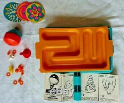 Boxed vintage 1969 Mattel Wizzzer Trick Tray Set spinning top complete. Wizzer