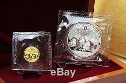 CHINA Set 1/10 oz Goldpanda und 1 oz Silberpanda 2013 in FOLIE inkl. BOX TOP