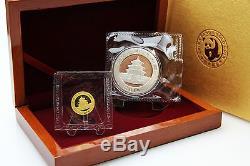 CHINA Set 1/10 oz Goldpanda und 1 oz Silberpanda in FOLIE inkl. BOX 2010 TOP