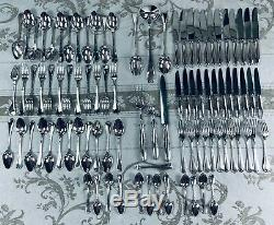 Christofle Flatware 91 Pcs Louis XV Rubans 12 Pers table Dinner set Top Box