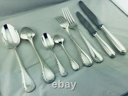 Christofle Flatware PERLES Table Dinner set Silver plate 61 pcs 12 Pers BOX TOP