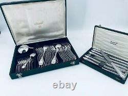 Christofle PERLES Flatware Table Dinner set Silver plate 49 pcs 12 Pers BOX TOP