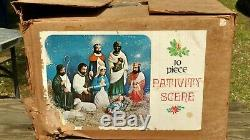 EMPIRE Table Top Miniature Blow Mold Nativity 10 piece set in original box