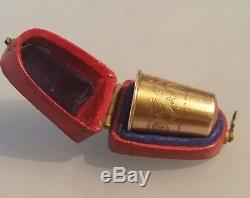 Gold thimble set with amber stone top in original box Gustaf Dahlberg Sweden