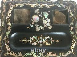 Gorgeous Antique Desk Top Set Double INKWELL Ca 1840 INLAID Abalone Box MOP