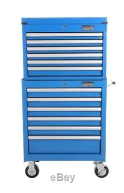 Halfords Industrial Blue Tool Box Chest Set Roll Cab and Top Box