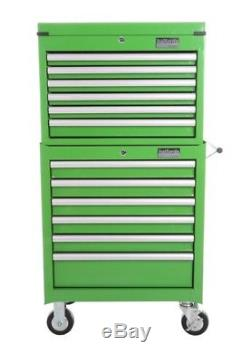 Halfords Industrial Green Tool Box Chest Set Roll Cab and Top Box