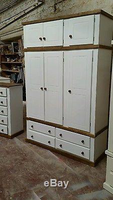 Handmade Berkshire Country (white+dark Oak) 2 Piece Bedroom Set Triple+top Box