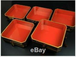 Japan antique folding fan TABLE TOP LACQUER BOX 5 CABINET gift set vintage makie