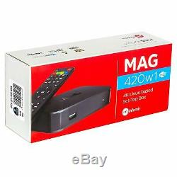 LATEST RELEASE Mag 420W1 4K Set Top Box Linux 4K UHD HEVC Wifi and Bluetooth