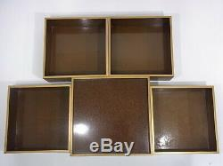 Late Edo Japan antique Octagon Gold TABLE TOP LACQUER BOX CABINET gift set 19 C