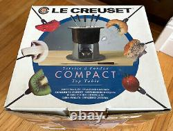 Le Creuset Compact Table Top Fondue Set Unused In Box Hunters Green Cast Iron