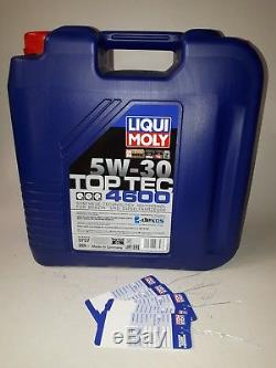 Liqui Moly Top Tec 4600 5W-30, 1 x 20 ltr. LM-3757 inkl. 5 Ölzettel