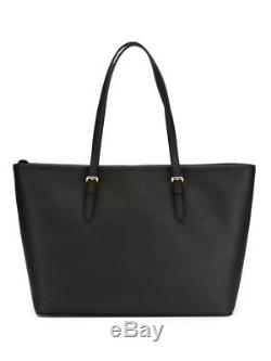 Michael Kors 100% Jet Set Travel Saffiano Leather Top Zip Tote Black Boxed