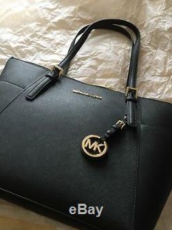 Michael Kors Women Jet Set Top-Zip Saffiano Leather Tote Shoulder Bag