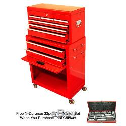 N-Durance Tool Cabinet Chest With Top Box Plus Free Socket Set (ND005P)