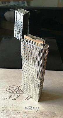 S. T. Dupont Tischfeuerzeug Ligne 1, silberfarben, orig. Dup. Box, TOP Zustand, FULL SET