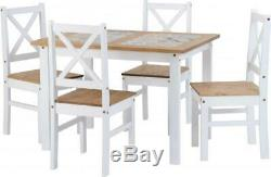Salvador 1+4 Tile Top Dining Set White/Grey 2 Chairs 1 Dining Table New Boxed