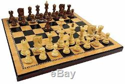Sheesham RUSSIAN Opp Tops Staunton Wood Chess Set Storage Box & Walnut Color Bd