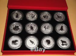 Silber Set 2 Oz Unzen 12 x Lunar I 1999 2010 Münzbox Top ErhaltungAustralien
