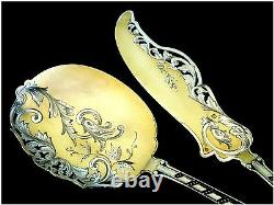 Soufflot Top French Sterling Silver 18k Gold Ice Cream Set 2 pc withbox Rococo