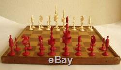 TOP 19th Cent. Bone chess set red /white incl box Selenus Germany King 11 cm