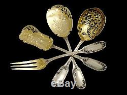 TOP French All Sterling Silver Vermeil Dessert Set 4 pc box Musical Instruments