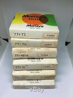TOP MINT in BOX Mamiya 77mm Y2 YG O2 UV SL ND16 Filter 6 Set For RB67 RZ JAPAN