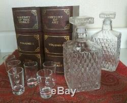 Table Top Bar Set 2 Glass Decanters 6 Glasses Faux Book Box Container