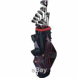 Top Flite Golf XL 13-Piece Men's Complete Bag Box Set Left Hand Black Red NEW