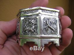 Very Rare Antique 1800s Ornate Chinese Silver 4 Box Set + Jade Top Dragons Etc