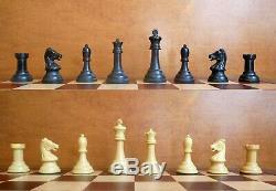 Vintage Drueke 36 Player's Choice Staunton Chess Set. Original Slide-top box