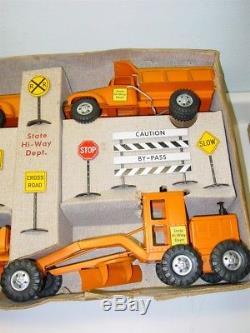 Vintage Tonka Orange State Hi Way Dept. Set, B-208 In Box, No Top, Pressed Steel